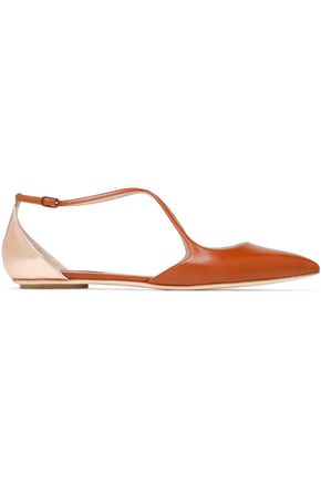 CASADEI Matte and mirrored-leather point-toe flats