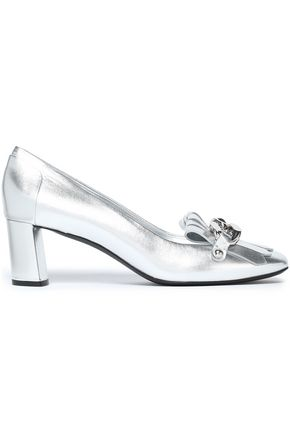 CASADEI Chain-trimmed metallic leather pumps