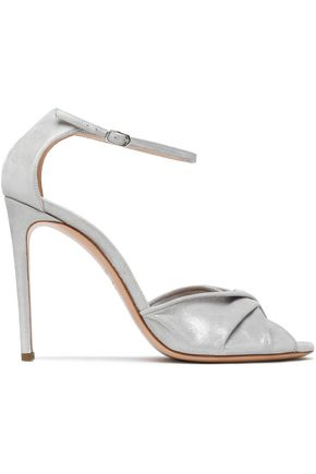 CASADEI Moondust twisted metallic leather sandals