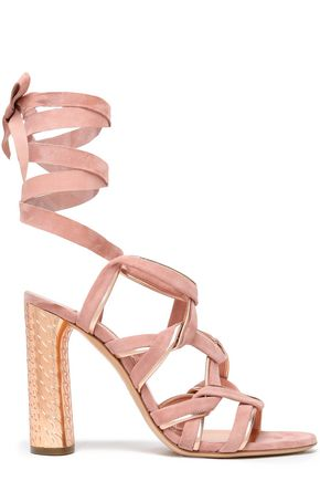CASADEI Metallic-trimmed suede sandals