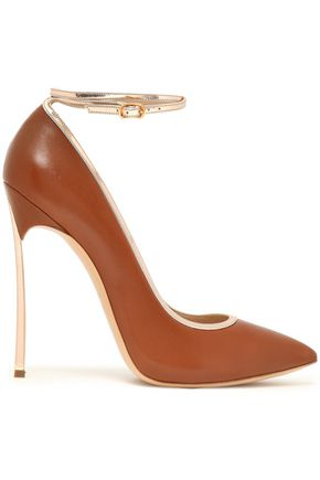 CASADEI Metallic-trimmed leather pumps