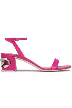 CASADEI Chain-embellished patent-leather sandals