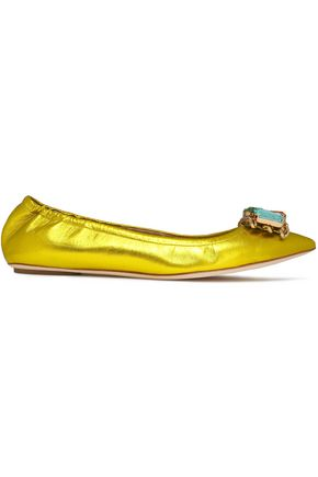 CASADEI Crystal-embellished metallic leather ballet flats