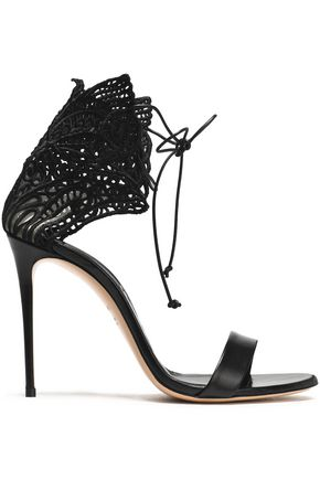 CASADEI Embroidered mesh and leather sandals