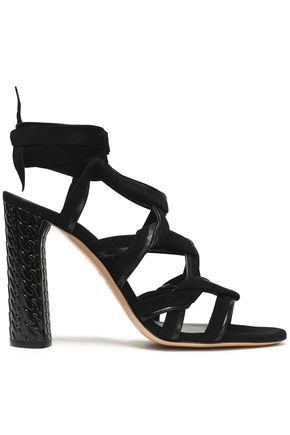 CASADEI Leather-trimmed suede sandals