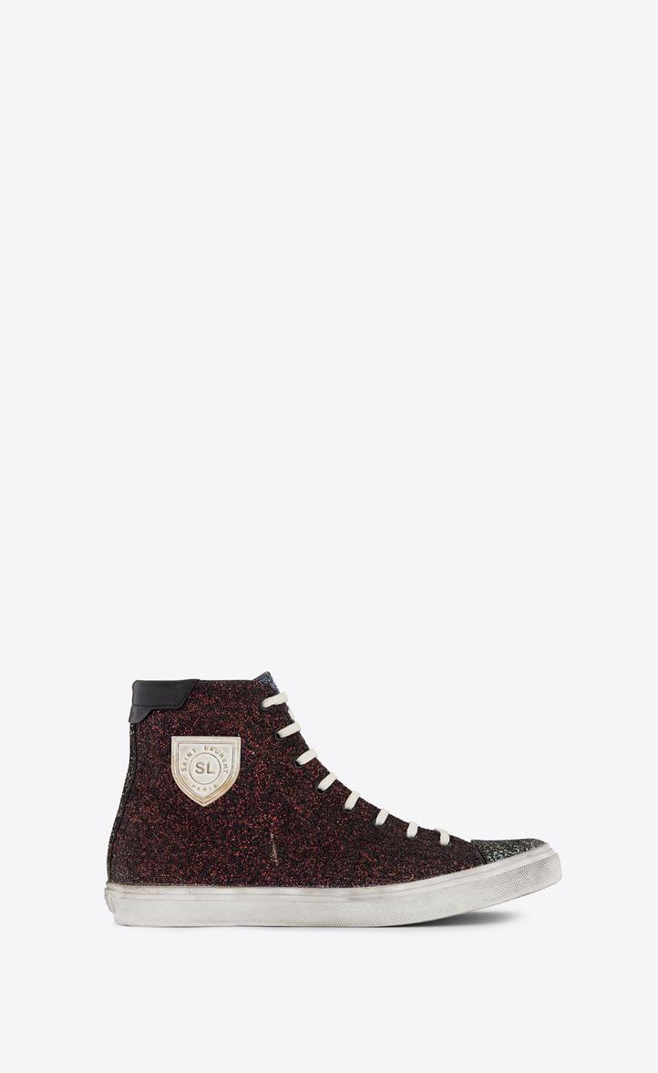 SAINT LAURENT Men'S Bedford Solid Glitter High-Top Sneaker, Burgundy