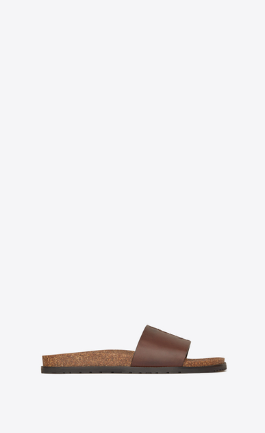 SAINT LAURENT Sandals Man Jimmy 20 sandal in chocolate leather a_V4