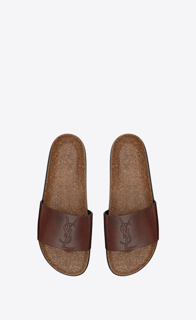 SAINT LAURENT Sandals Man Jimmy 20 sandal in chocolate leather b_V4