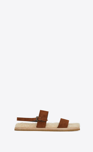 SAINT LAURENT Sandals Man Noé sandal in caramel suede and beige shearling a_V4