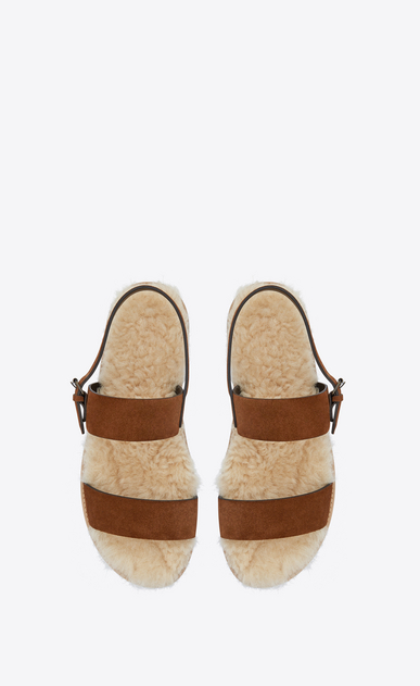 SAINT LAURENT Sandals Man Noé sandal in caramel suede and beige shearling b_V4