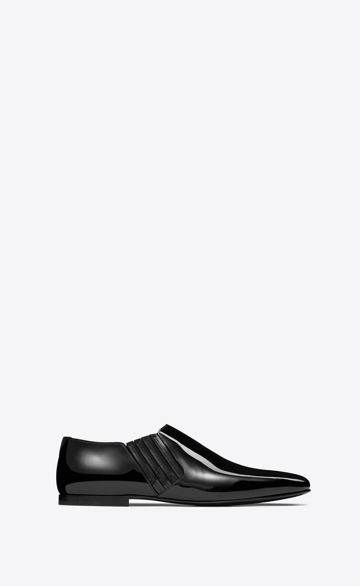 Men'S Connor Crop Patent Chelsea Boots in Black