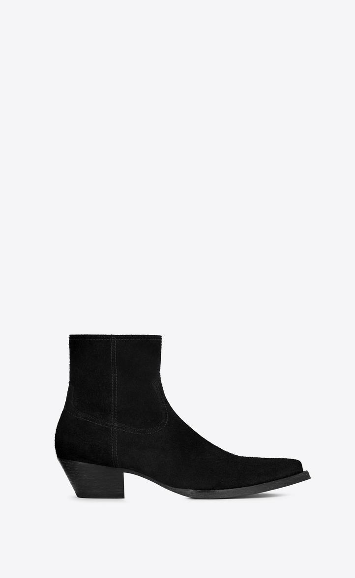 Saint Laurent Black Suede Lukas Boots