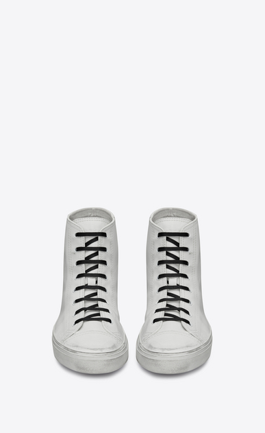 SAINT LAURENT Bedford Man Bedford mid-top sneaker with checkered heart in white leather b_V4