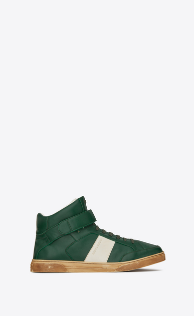 SAINT LAURENT High top sneakers Man Max mid-top Velcro sneaker in green leather a_V4