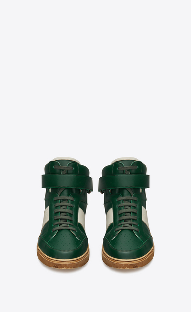 SAINT LAURENT High top sneakers Man Max mid-top Velcro sneaker in green leather b_V4