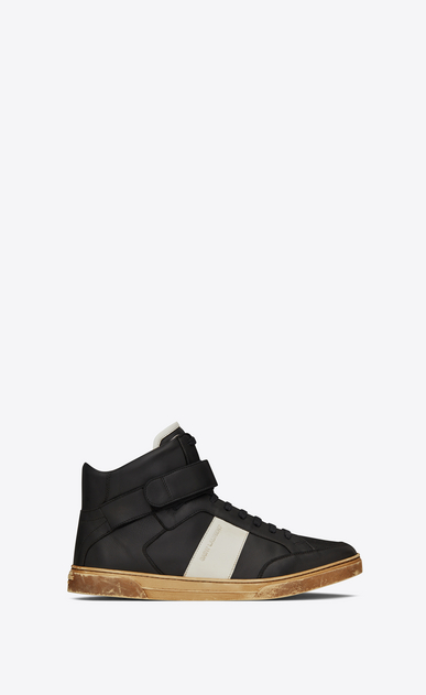 SAINT LAURENT High top sneakers Man Max mid-top Velcro sneaker in black leather a_V4
