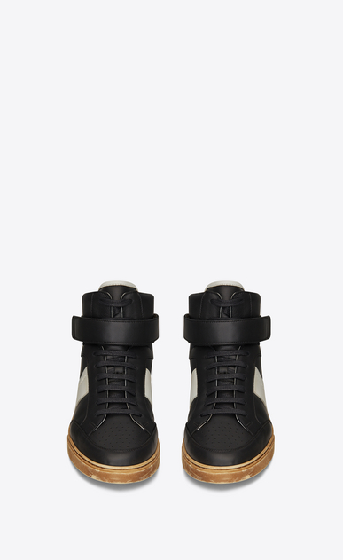 SAINT LAURENT High top sneakers Man Max mid-top Velcro sneaker in black leather b_V4