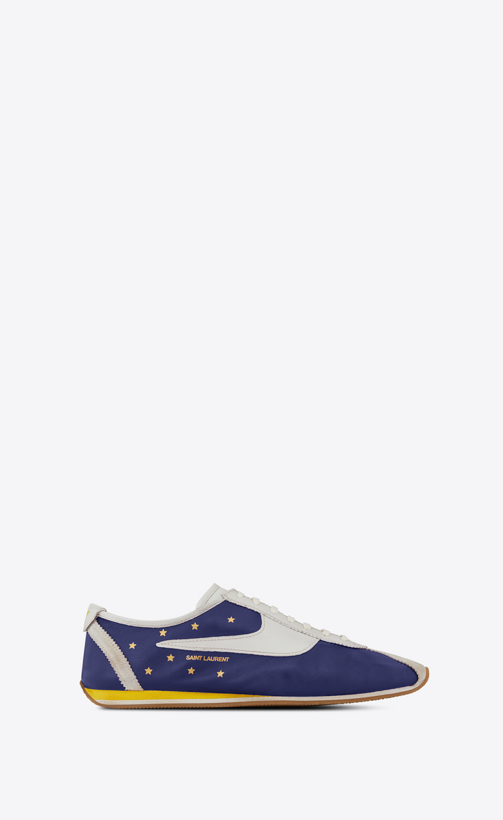SAINT LAURENT JAY SNEAKER IN NAVY BLUE AND WHITE LEATHER