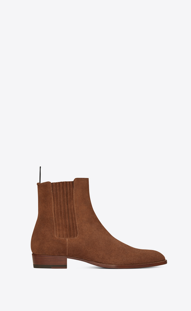 SAINT LAURENT Boots Man Wyatt 30 Chelsea boot in wood-colored suede a_V4