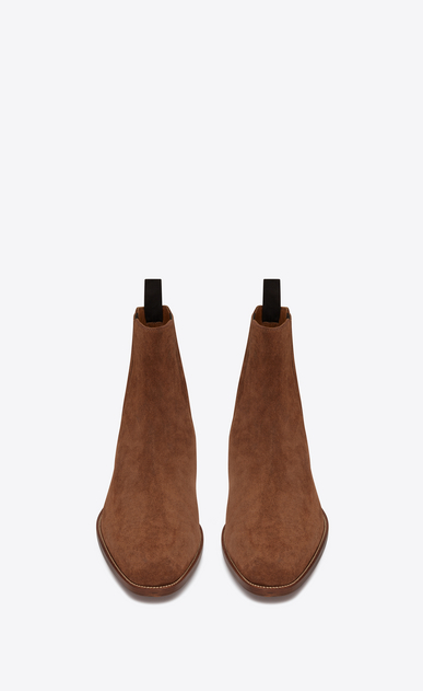 SAINT LAURENT Boots Man Wyatt 30 Chelsea boot in wood-colored suede b_V4