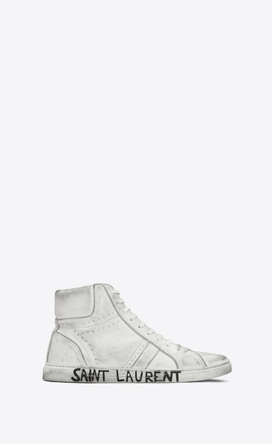 SAINT LAURENT High top sneakers Man Joe sneaker in worn-look leather a_V4