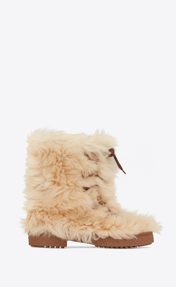 Furry Boot In Lambskin With Leather Laces, Beige