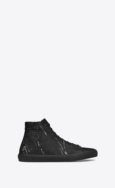 SAINT LAURENT Bedford Man Mid-top Bedford sneaker in black jacquard marbled in white a_V4