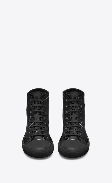 SAINT LAURENT Bedford メンズ Mid-top Bedford sneaker in black jacquard marbled in white b_V4