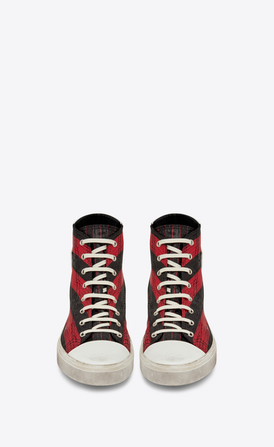 SAINT LAURENT Bedford メンズ Mid-top Bedford sneaker in red and black striped Lurex b_V4