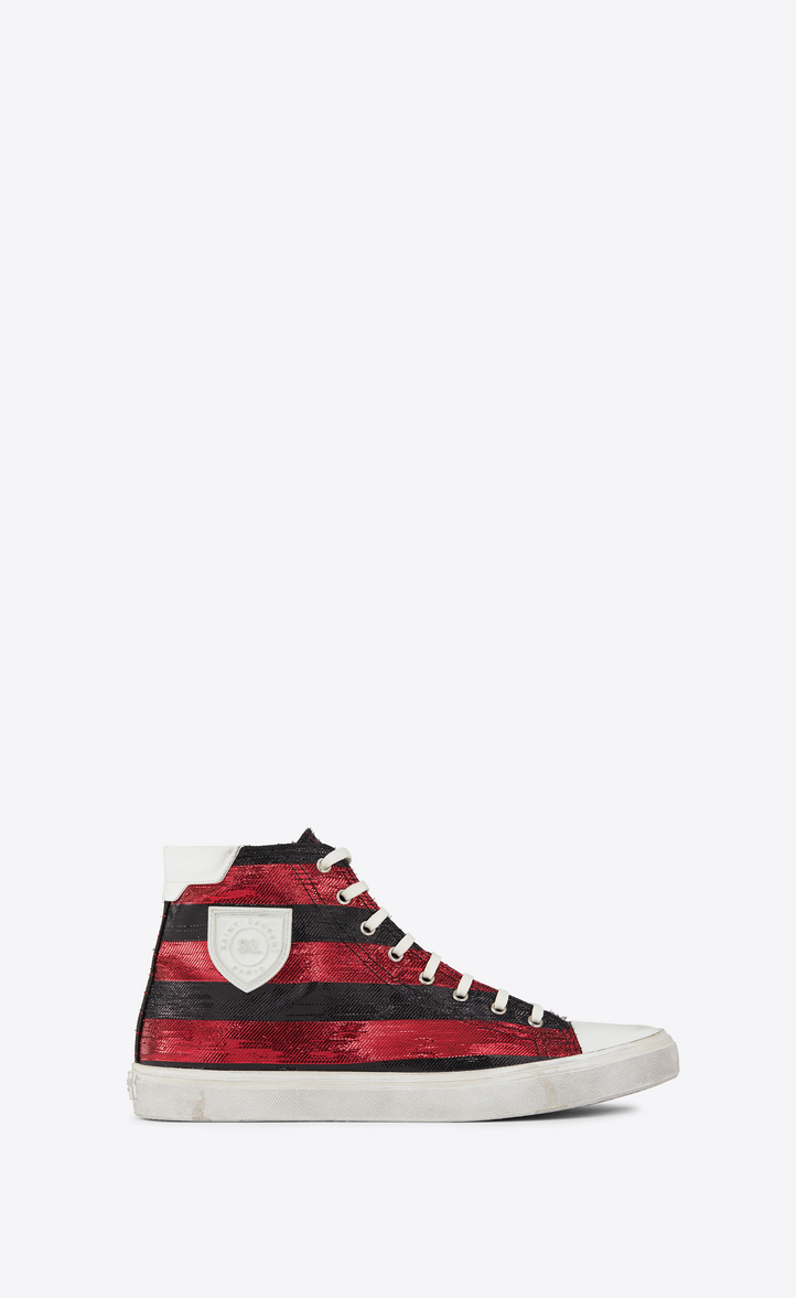 SAINT LAURENT MID-TOP BEDFORD SNEAKER IN RED AND BLACK STRIPED LUREX
