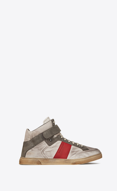 SAINT LAURENT High top sneakers Man Max mid-top Velcro sneaker in silver satiny nylon and red leather a_V4