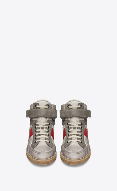 SAINT LAURENT High top sneakers メンズ Max mid-top Velcro sneaker in silver satiny nylon and red leather b_V4