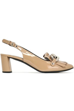 CASADEI Chain-trimmed patent-leather slingback pumps