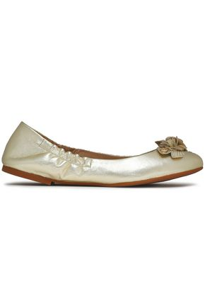TORY BURCH Floral-appliquéd metallic leather ballet flats