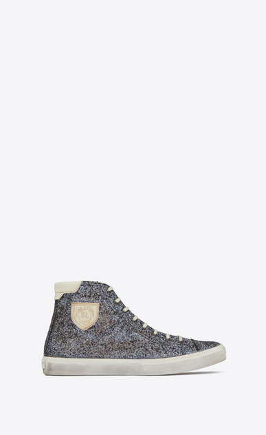 SAINT LAURENT Bedford Man Bedford mid-top sneaker in blue glitter a_V4