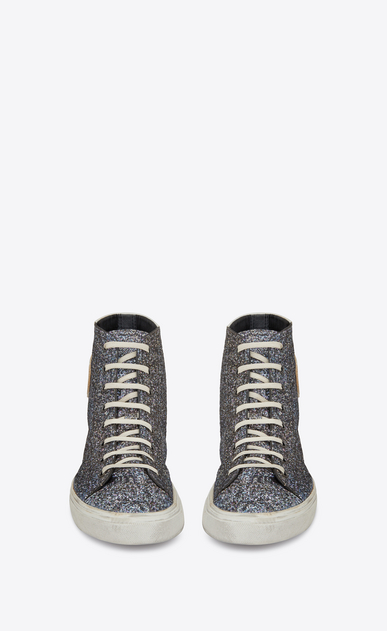 SAINT LAURENT Bedford Man Bedford mid-top sneaker in blue glitter b_V4