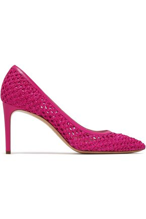 CASADEI Leather-trimmed braided raffia pumps