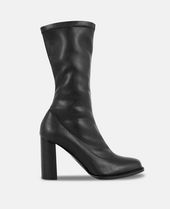 Heeled Boots In Black Synthetic Material