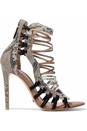 SCHUTZ Ermmana suede-trimmed python-effect leather sandals