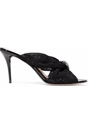 Oscar de la Renta Woman Mia Crystal-embellished Knotted Corded Lace Slides Navy Size 41