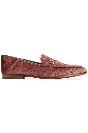 SAM EDELMAN Embellished jacquard leather loafers