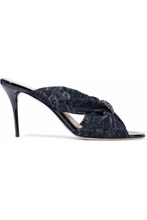 OSCAR DE LA RENTA Glenn crystal-embellished twisted corded lace mules
