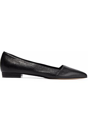 OSCAR DE LA RENTA Textured-leather point-toe flats