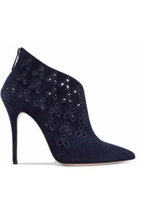OSCAR DE LA RENTA Cutout embroidered suede ankle boots