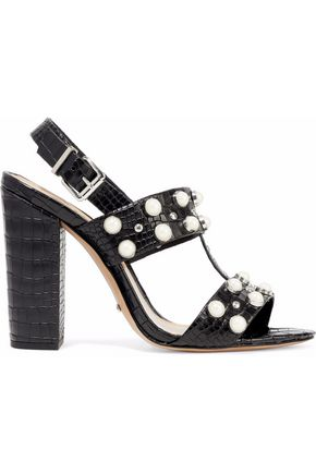SCHUTZ Zarita embellished croc-effect leather slingback sandals