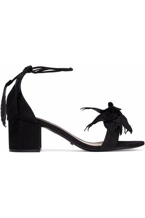 SCHUTZ Appliquéd suede sandals