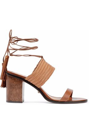 SCHUTZ Luky suede-trimmed braided leather sandals