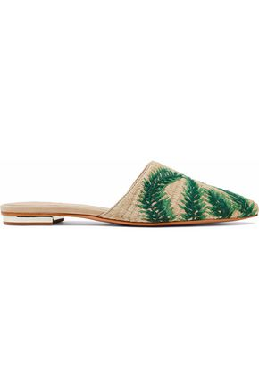 SCHUTZ Elvan leather-trimmed embroidered raffia slippers