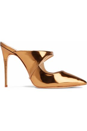 WOMAN NICOLLY MIRRORED-LEATHER MULES BRONZE