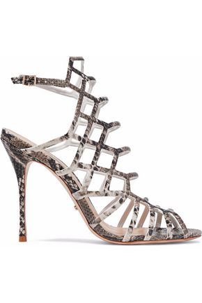 SCHUTZ Juliana cutout snake-effect leather sandals